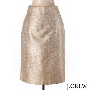 J CREW Gorgeous Gold Metallic Pencil Skirt